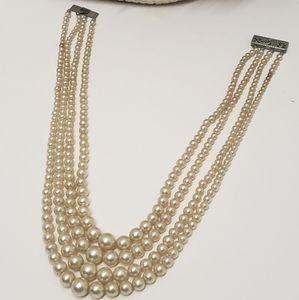 Elegant Vintage 4 Strand Faux Pearl Necklace